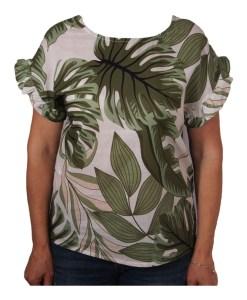 Дамска блуза 0019-567-8 със зелени листа