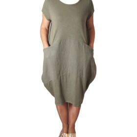 Дамска спортна рокля 018-310-5 с вътрешни джобчета цвят зелен