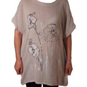 Дамска блуза XL 119-263-4 цвят бежов с цветя и перли