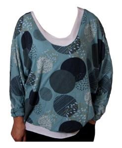 Дамска блуза XL 119-257-52 цвят тюркоаз с потник