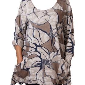 Дамска блуза XL 119-257-67 тип туника в бежово