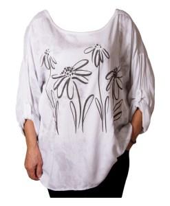 Дамска блуза XL 119-257-60 бяла с цветя