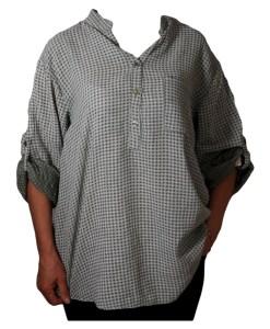 Дамска блуза XL 119-257-65 зелена на малки квадратчета