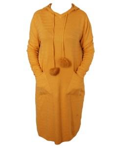 Дамска рокля XL 18-191-3 с качулка цвят горчица
