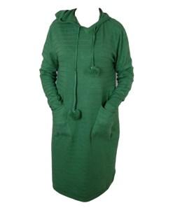 Дамска рокля XL 18-191-4 с качулка цвят зелен