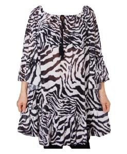 Дамска блуза XL 119-255-40 бяло и черно