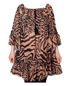 Дамска блуза XL 119-255-41 кафяво и черно