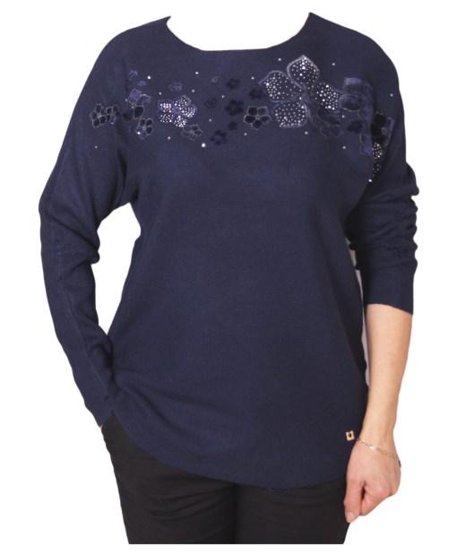 Дамски пуловер 2-391-13 цвят тъмно син