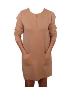 Дамска рокля 017-199-14 цвят охра