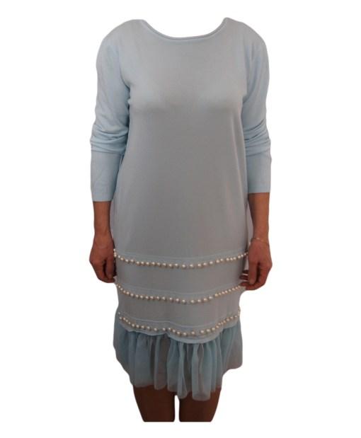 Дамска рокля 017-196-1 цвят светло син