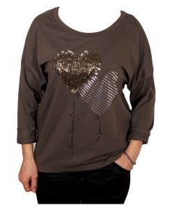 Дамска блуза 00-578-3 със сърца цвят зелен
