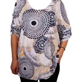 Дамска блуза XL 119-256-1 бяла на кръгове