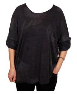 Дамска блуза XL 119-256-4 цвят черен на кръгове