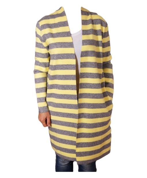 Дамска жилетка 20-101-3 жълто и сиво