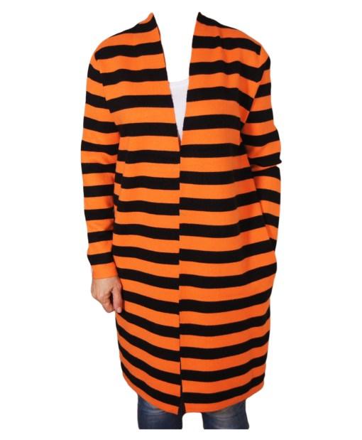 Дамска жилетка 20-101-4 оранжево и черно