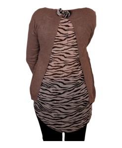 Дамски пуловер 2-400-57 с момиче цвят кафяв