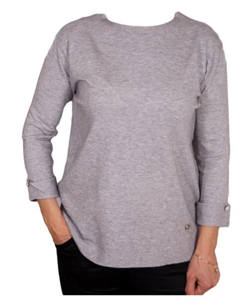 Дамски пуловер 2-399-33 цвят сив