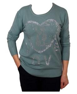 Дамски пуловер 2-390-62 цвят зелен
