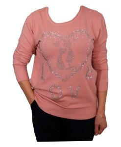 Дамски пуловер 2-390-60 цвят розов