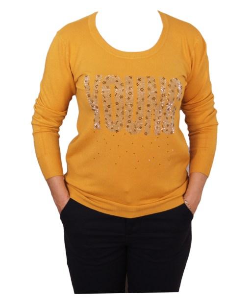 Дамски пуловер 2-390-94 цвят горчица