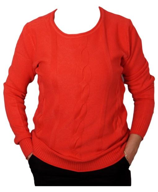 Дамски пуловер 2-400-70 цвят червен