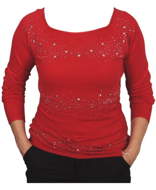 Дамски пуловер 2-391-22 цвят червен