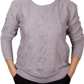 Дамски пуловер 2-400-74 цвят сив