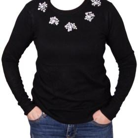 Дамски пуловер 2-389-5 цвят черен