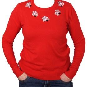 Дамски пуловер 2-389-3 цвят червен