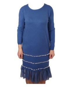 Дамска рокля 017-196-6 цвят син