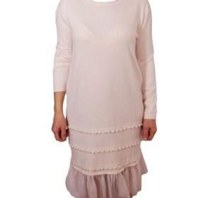 Дамска рокля 017-196-7 цвят екрю