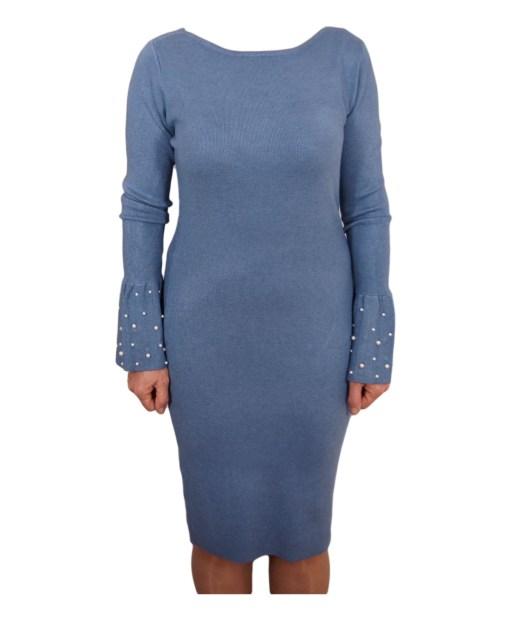 Дамска рокля 017-196-73 цвят син