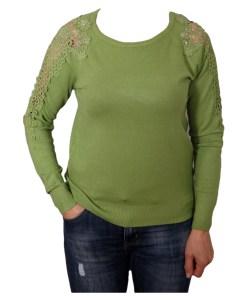Дамски пуловер 2-386-3 цвят зелен