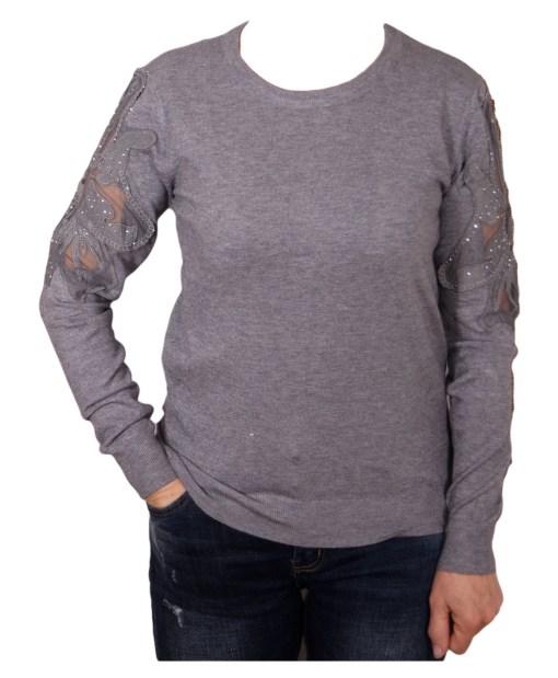 Дамски пуловер 2-385-63 цвят сив