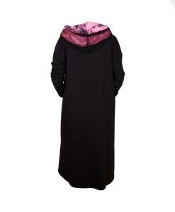 Дамска рокля XL 18-188-1 черна с акценти в розово