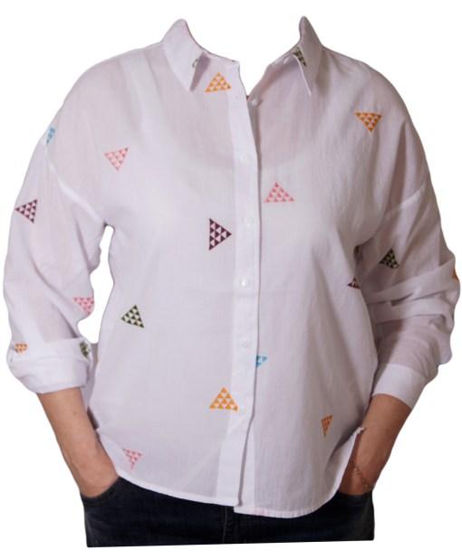 Дамска блуза 00-576-54 на цветни триъгълници