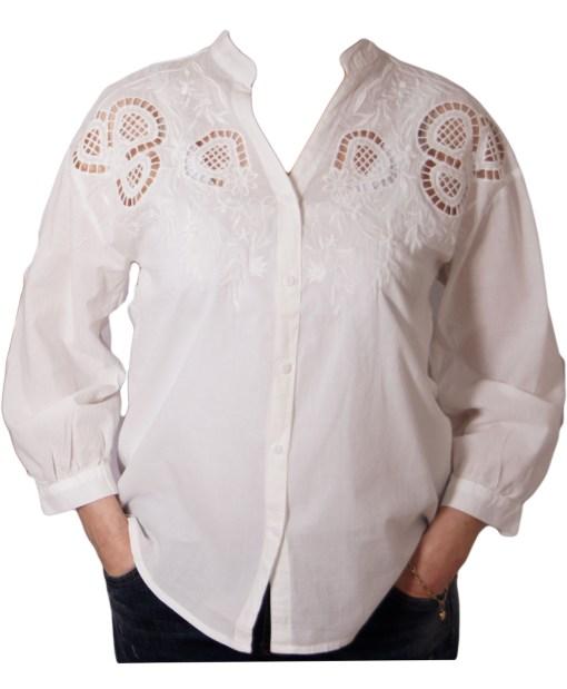 Дамска блуза 00-576-51 бяла с дантела