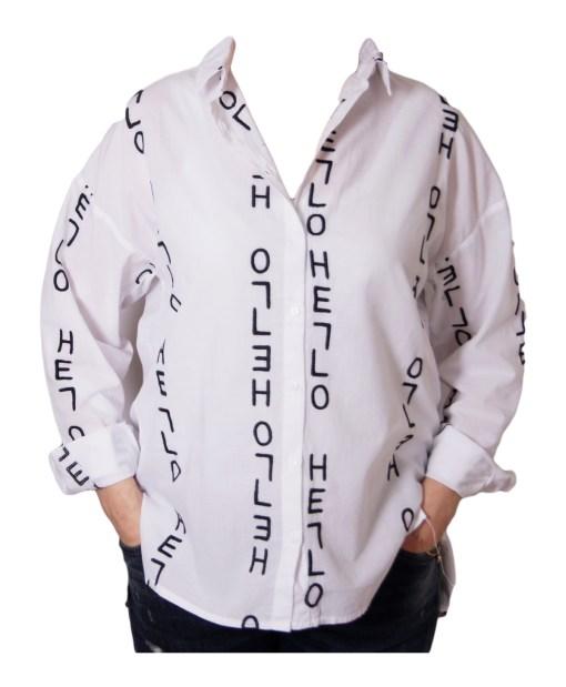 Дамска блуза 00-576-3 с черни надписи