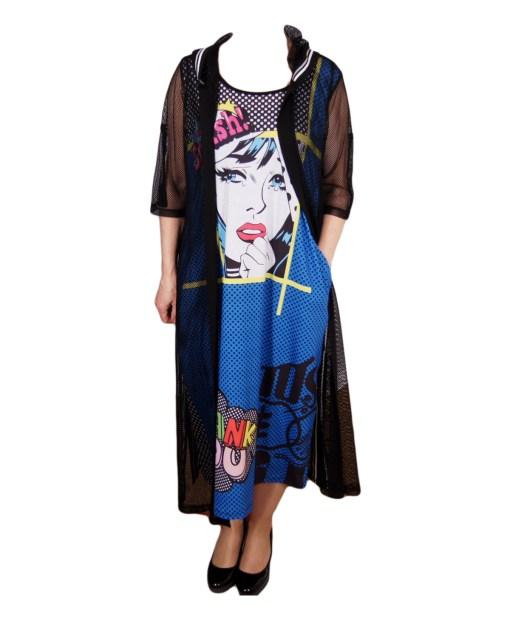 Дамска рокля XL 18-187-1 черна в 2 части