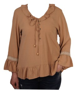 Дамска блуза 00-575-4 цвят кафяв
