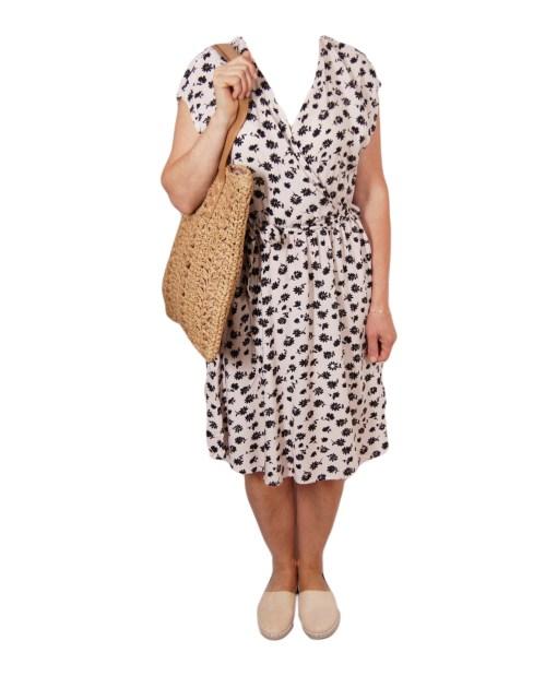 Дамска рокля 017-192-6 цвят бял с черни цветя