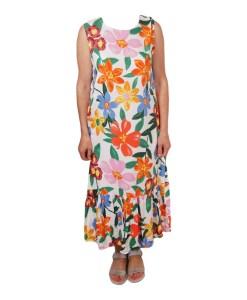 Дамска рокля 017-192-3 цвят бял