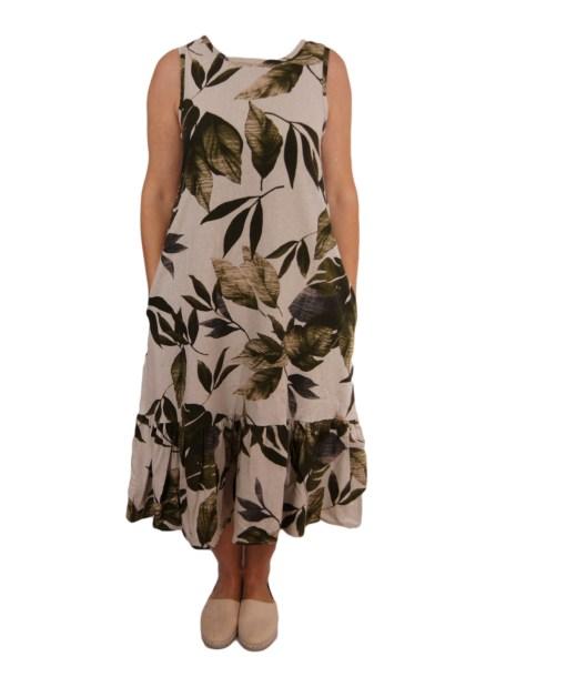 Дамска рокля 017-192-5 цвят бял със зелени листа