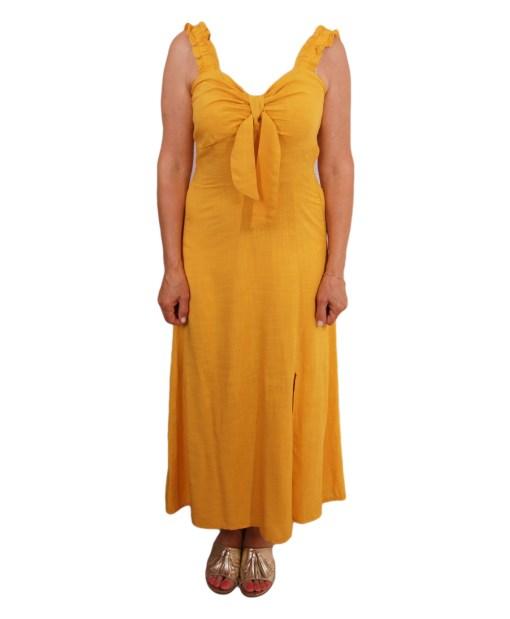 Дамска рокля 017-191-2 цвят горчица