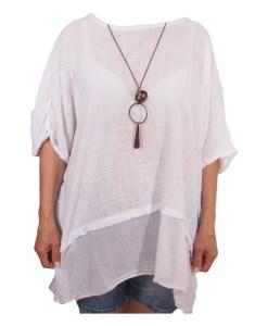 Дамска макси блуза XL 21-093-72 цвят бял