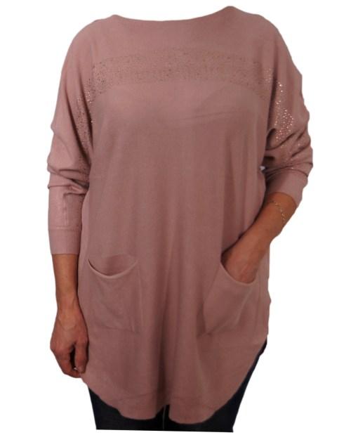 Дамска блуза XL 01-091-1цвят кафяв