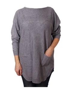 Дамска блуза XL 01-091-5 цвят сив