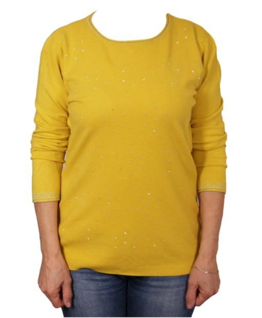 Дамски пуловер 2-386-14 цвят горчица