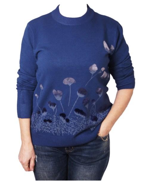 Дамска блуза XL 01-092-6 цвят тъмно син