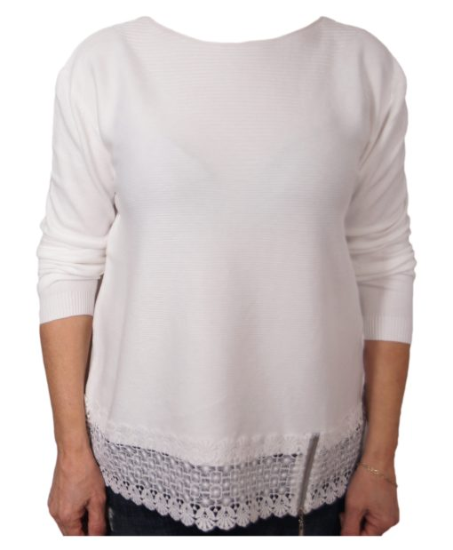 Дамски пуловер 2-386-22 цвят бял